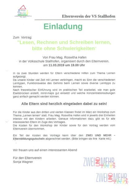"""Einladung zum Vortrag"""" Lesen Rechnen und Schreiben lernen, bitte ohne Schwierigkeiten"""" an der VS Stallhofen am 11.03.2019."""