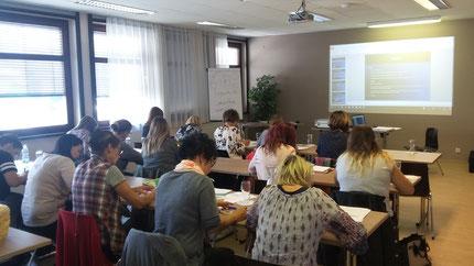"""12.10.2018: Seminar: """"Sinneswahrnehmung"""" für KindergartenpädagogInnen im Seminarraum vom Jufa Hotel Graz-Süd, durchgeführt von Roswitha Hafen, finanziert und organisiert vom Referat Kinderbildung- und betreuung des Landes Steiermark."""