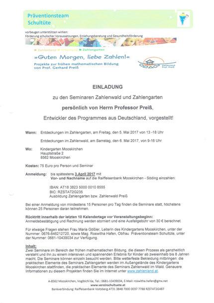 Einladung zum Seminar Zahlengarten und Zahlenwald mit Prof. Preiß persönlich, organisiert durch Roswitha Hafen und dem Kindergarten Mooskirchen