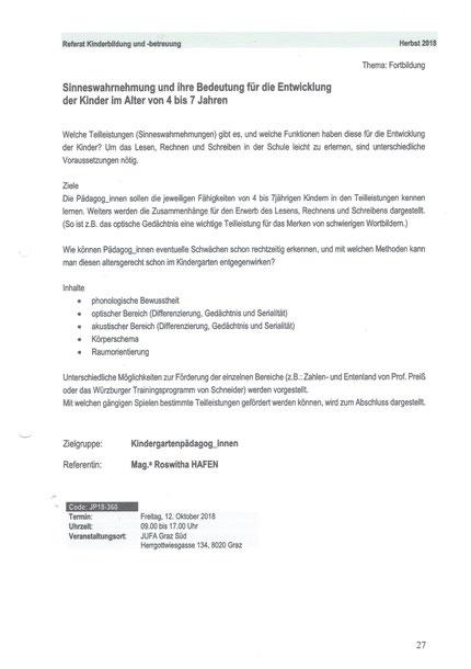 """Ausschreibung für das Seminar """"Sinneswahrnehmungen"""" für KindergartenpädagogInnen als Fortbildungsveranstaltung über das Land Steiermark mit Roswitha Hafen am 12. Oktober 2018."""