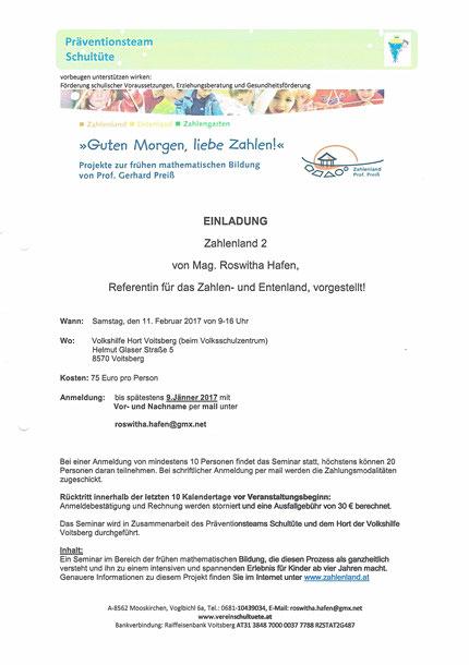 Einladung zum Seminar Zahlenland 2 mit Roswitha Hafen im Hort Voitsberg