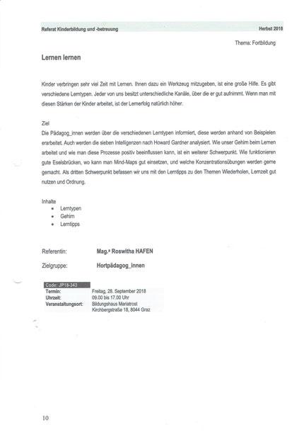 """Ausschreibung für das Seminar """"Lernen lernen"""" für HortpädagogInnen als Fortbildungsveranstaltung über das Land Steiermark mit Roswitha Hafen am 28. September 2018 Ausschreibung für das Seminar """"Lernen lernen"""" für HortpädagogInnen als Fortbildungsveranstal"""