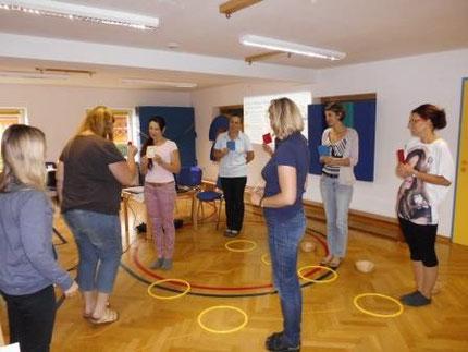 Seminar zum Entenland 1 für PädagogInnen im heipäd. Kindergarten Köflach, durchgeführt von Roswitha Hafen