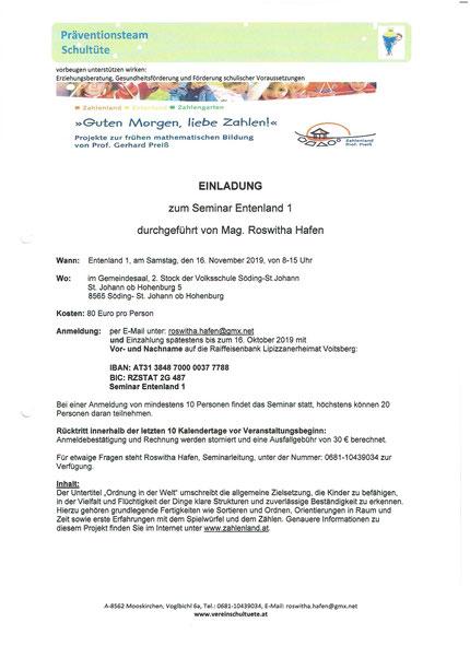 Einladung zum Seminar Entenland 1 in der Volksschule St.Johann ob Hohenburg am 16.11.2019.