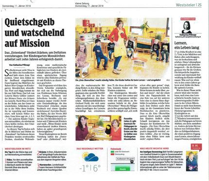 Reportage über das Entenland und der Schultüte von der Kleinen Zeitung vom 11.01.2018.