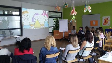 """Seminar """"Zahlenland 1"""" Teil 1, mit Roswitha Hafen für alle Pädagoginnen vom Kindergarten Lieboch."""