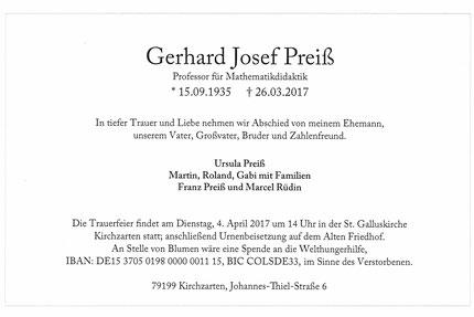 Benachrichtigung vom Tod des Hr. Prof. Gerhard Preiß, Entwickler vom Zahlen- und Entenland
