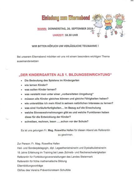 """Einladung zum Vortrag"""" Lesen Rechnen und Schreiben lernen, bitte ohne Schwierigkeiten"""" im Heilpädagogischen Kindergarten Deutschlandsberg am 26.09.2019."""