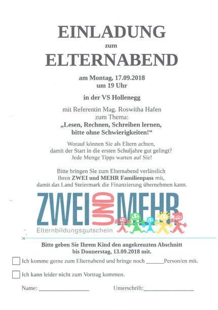 Einladung zum Vortrag an der Volksschule Hollenegg am 17.09.2018.