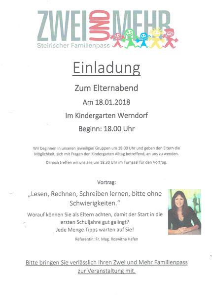 Einladung zum Vortrag im Kindergarten Werndorf am 18.01.2018