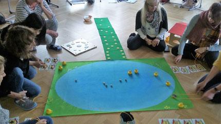 """Seminar """"Entenland 2"""", Teil 1 für Kindergartenpädagoginnen, im Kindergarten der Kapellenstraße in Graz. Durchgeführt von Roswitha Hafen, finanziert und organisiert von die Abteilung für Bildung und Integration der Stadt Graz."""