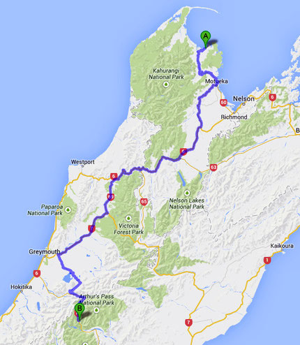 The wiggling route from Pohara to Authur's Pass (428km/266 miles) (Google Maps)