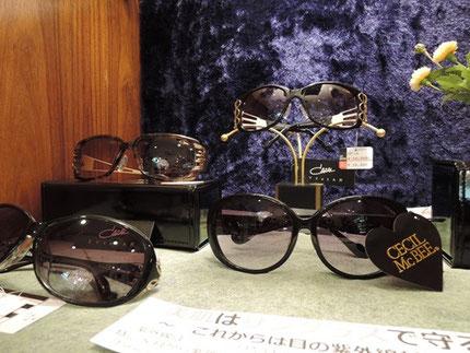 カザールやセシルマクビーのサングラス。おしゃれさと機能性を兼ねたサングラスが人気。