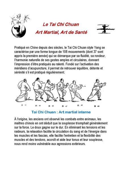 Le Tai Chi Chuan  Art Martial, Art de Sante 01