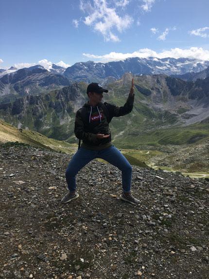 Bastien en shuto au sommet de la Saulire à Courchevel !
