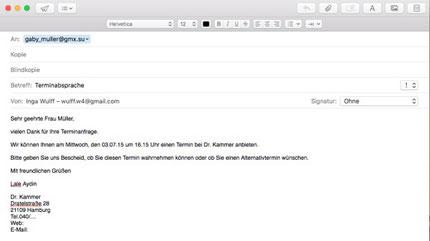 Email Rückmeldung