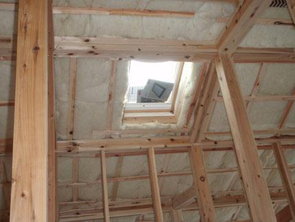 ウールを充填している屋根断熱