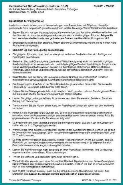 Merkblatt 2 (Quelle:Gemeinsames Giftinformationszentrum der Länder Mecklenburg ,Sachsen,Sachsen-Anhalt und Thüringen (Verteilte Handzettel anlässlich einer Tagung mit Information zur Giftwirkung des Grünlings).