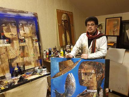 Ebrahim Hamid in seinem Atelier