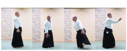 画像④自然本体から前方回転:右足を軸とし、左足を置き換えて交代軸とし、右足先を外方にその場で踏み換え右半身陰の魄氣。