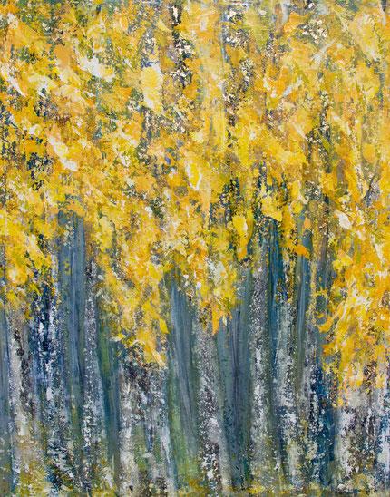 """""""Birken im Herbst"""", Acryl  und Artgold auf Leinwand, 80x100 cm"""
