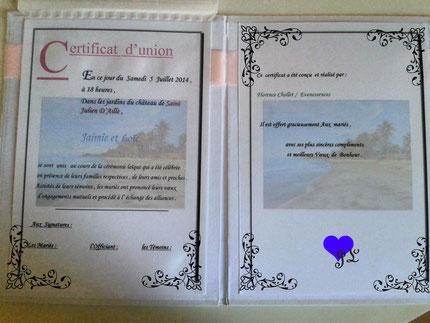 Certificat Union Cérémonie Laique
