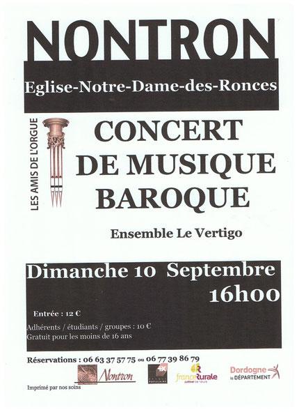 invitation au concert de musique baroque dans l'eglise de Nontron le 10 septembre 2017 a 16 heure