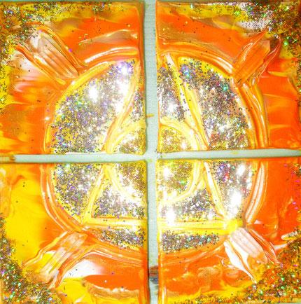 4 Bilder 10x10cm Acrl Bergkristallspitzen ein Teil des Ganzen sein