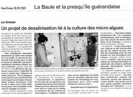 Ouest-France, un projet de désalinisateur lié à la culture des micro-algues, 18 juillet 2012