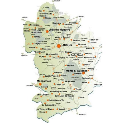 carte de loudun 86 et sa région pour l'association dynamob, vienne 86