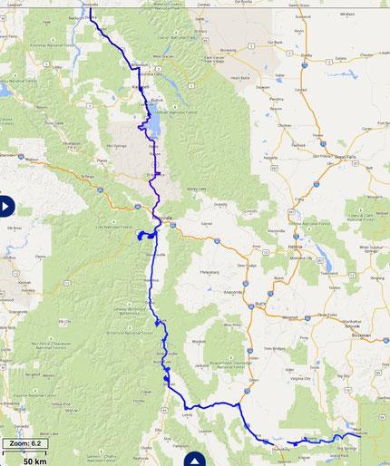 Unsere gefahrene Route in Montana und Idaho.