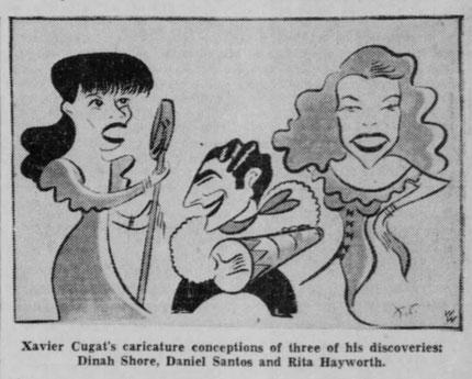 1942, Daniel Santos en caricatura cuando integraba la orquesta de Xavier Cugat, publicada en el Valley Morning Star de Texas.  Cortesia Jaime Jaramillo Suárez.