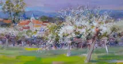 AVRIL EN PICARDIE (huile sur toile)- détail- JF.Millan (collection privée)
