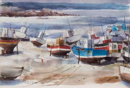 LES CHALUTIERS A ERQUY (aquarelle) 37 x 55 cm JF.Millan