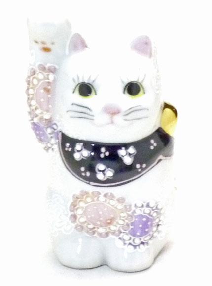 百華園-九谷焼招き猫 デコ盛 花むらさき(金運)