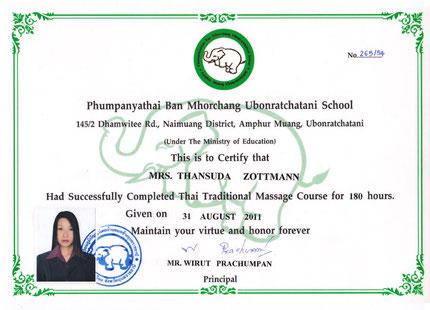 Banburi-Thaimassage Nürnberg Zertifikat II