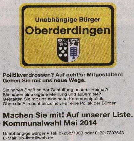 Kommunalwahl 25.Mai 2014