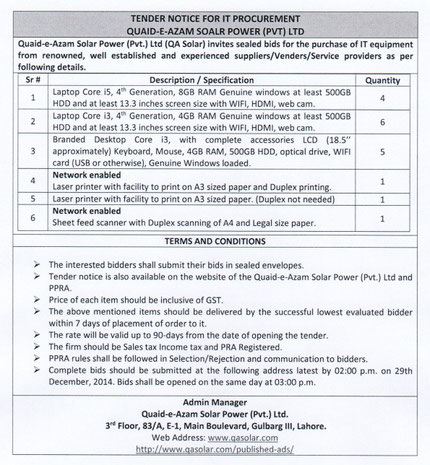 Tender Notice for IT Equipment Procurement 11/12/14