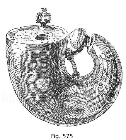 Fig. 575. Venezianisches Artillerie-Pulverhorn mit in Leder gepressten Verzierungen. Um 1580.