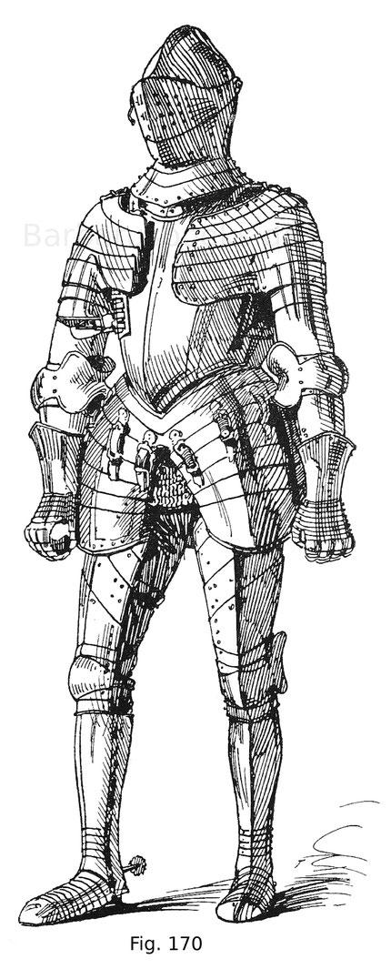 Fig. 170. Ganzer Feldharnisch, blank mit breiten Strichen die in Tausia verziert sind mit eingestreuten figuralen Gestalten. Geschlossener Helm mit bereits steilem Visier, breiten, geschobenen Achseln, Brust mit tiefem Gansbauch, breiten Beintaschen. Deut