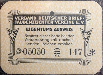 Eigentumsausweis 1930, Brieftaube, Ringkarte 1930, Brieftaubenwesen