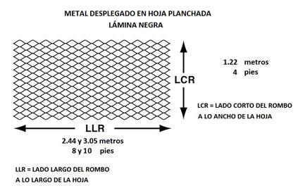 METAL DESPLEGADO EN HOJA DE LAMINA NEGRA PLANCHADA MEDIDAS EN m Y pies