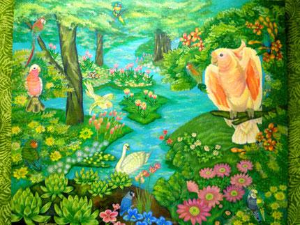 鳥達の楽園 F10号 絵画 楽園のアート 立花雪 YukiTachibana