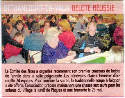 Compte rendu : l'Aisne Nouvelle et Comité des Fêtes de Béthancourt-en-vaux.