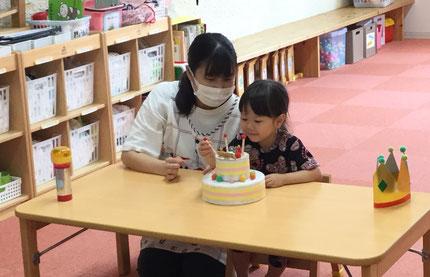 今日は、7月生まれのお友だちのお誕生日会をしました。前回のお誕生日会でお休みだったので本日行いました!