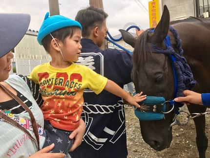 大きい馬を、怖がらずに触ることができました。