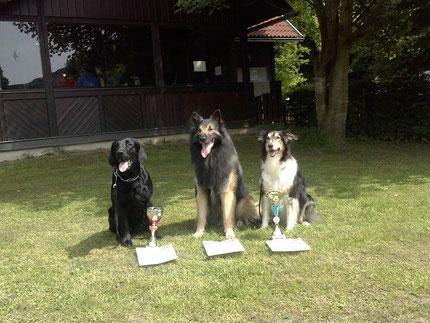vlnr: Candy, Anup und Daisy mit ihren Urkunden und Pokalen