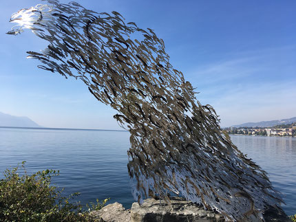 jumping fish sculpture in Montreux, Switzerland