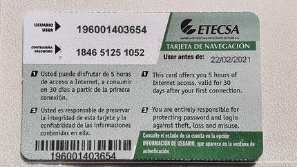 Rückseite mit User- und Passwordnummer