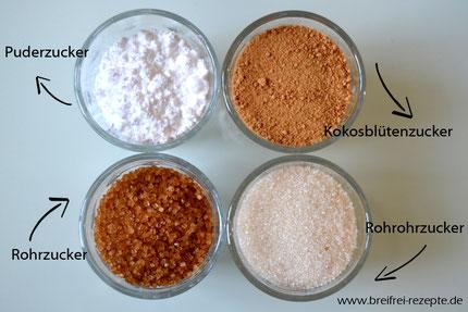 verschiedene Zuckersorten in Gläsern